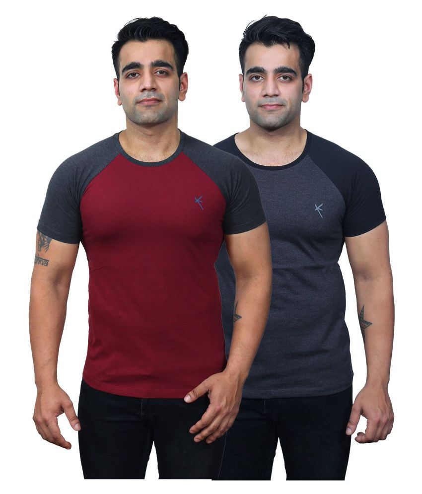 Yross Maroon Round T-Shirt Pack of 2