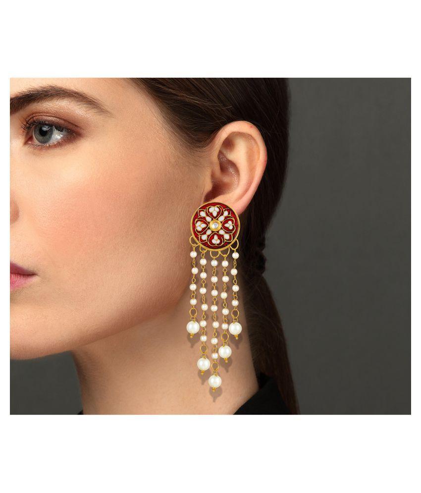 Asmitta Elegant Round Shape Meenakari Work Gold Plated Dangle Earring For Women