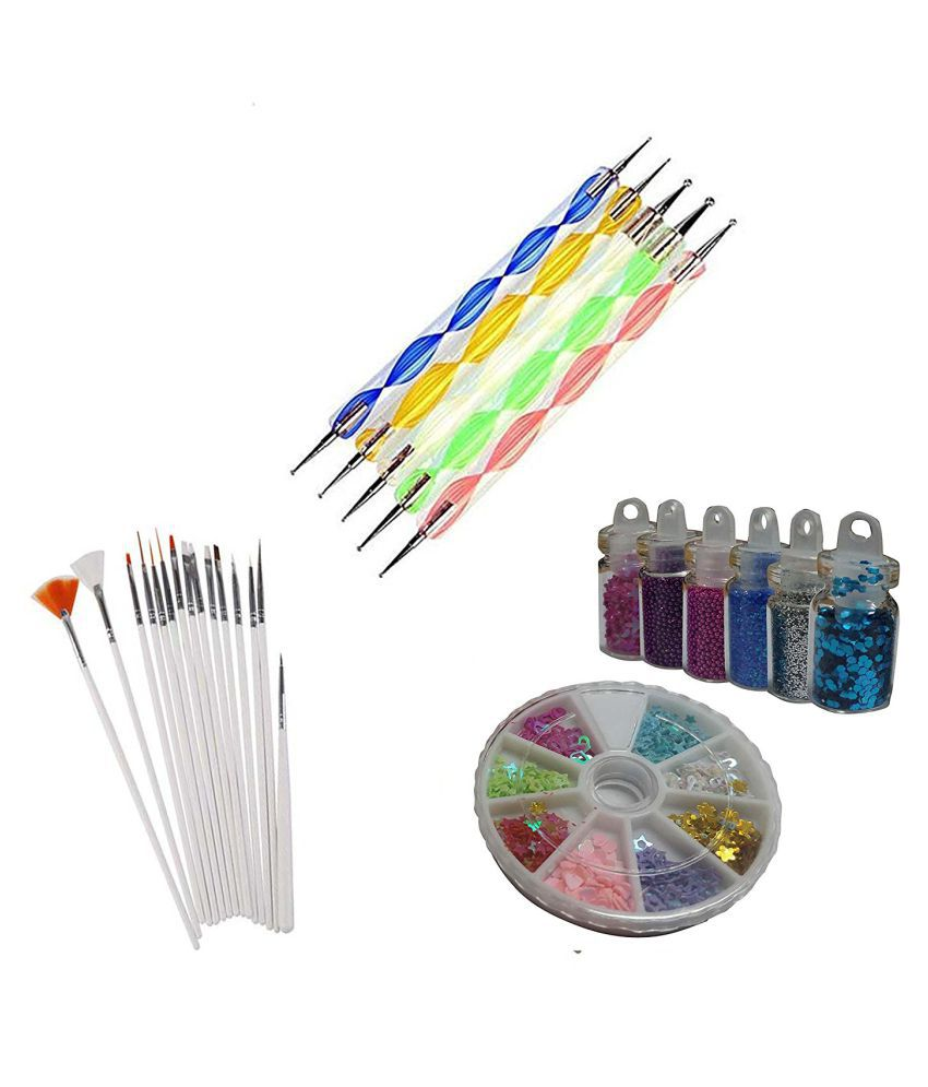 FOK Combo Set Nail Art Kit Décor Accessories 24 no.s Sequins With ...