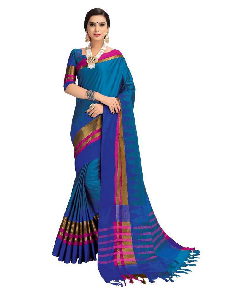 Salwar Studio Blue Cotton Blend Saree