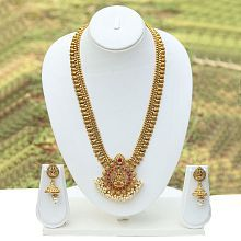 Green & Maroon Laxmi Temple Design Gold Plated Antique Artificial Long Necklace With Earrings