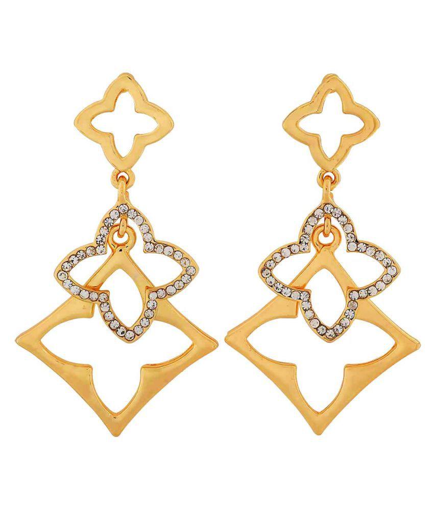 Maayra Designer Flowers Earrings Golden Dangler Drop College Fashion Earrings