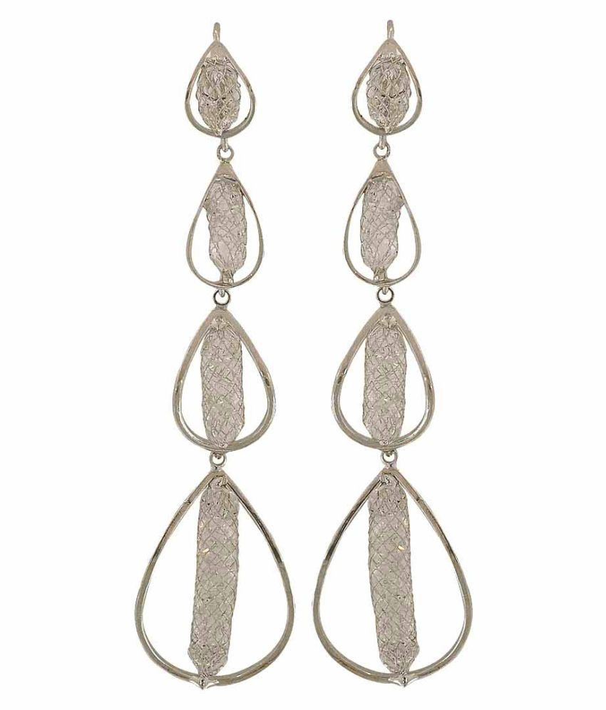 Maayra Designer Strings Earrings Silver Dangler Drop College Fashion Earrings