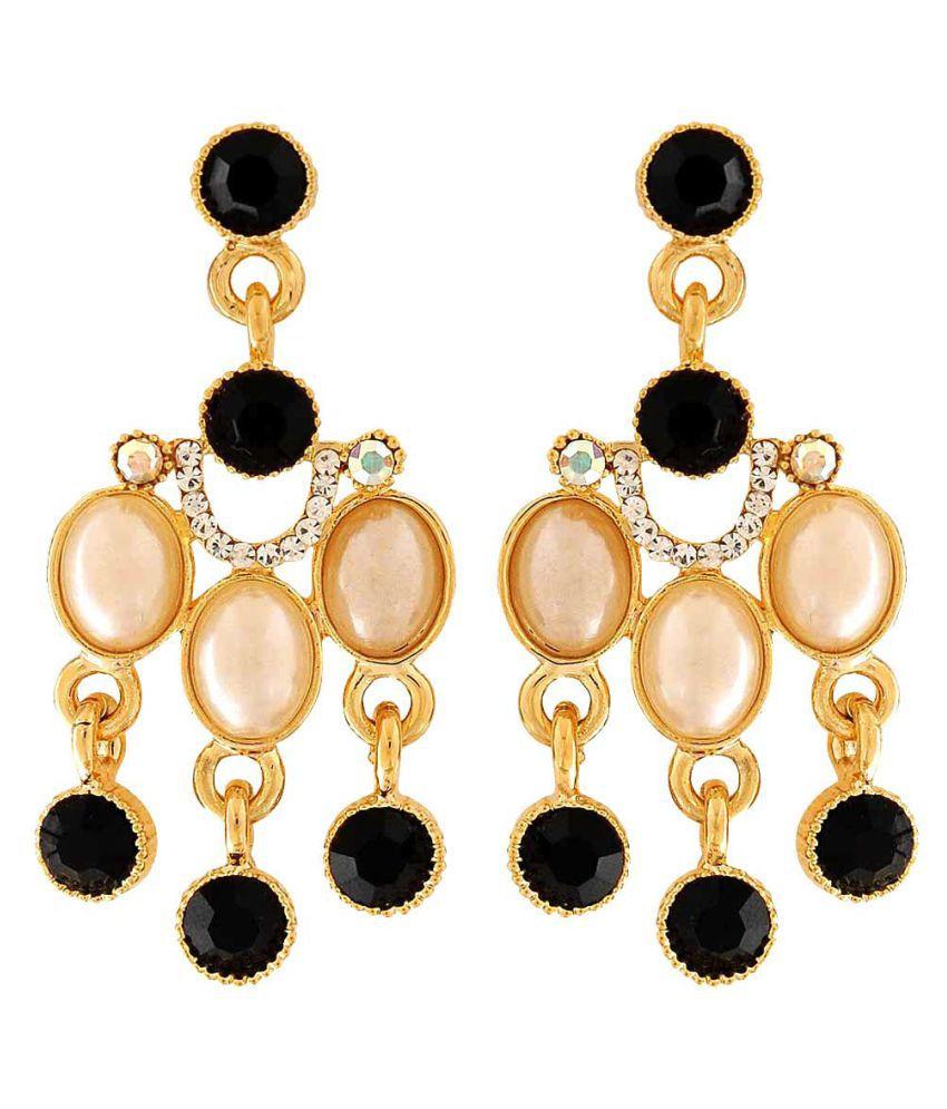 Maayra Fancy Earrings Black Golden Dangler Drop College Fashion Earrings
