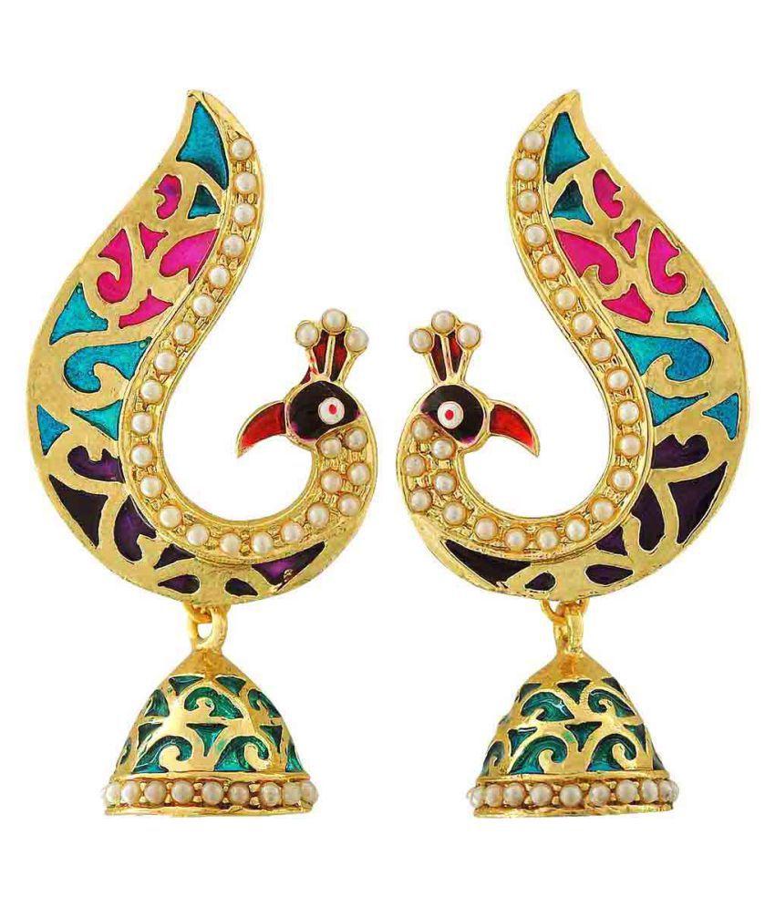 Maayra Meenakari Peacock Earrings Dangler Drop Festive Traditional Earrings