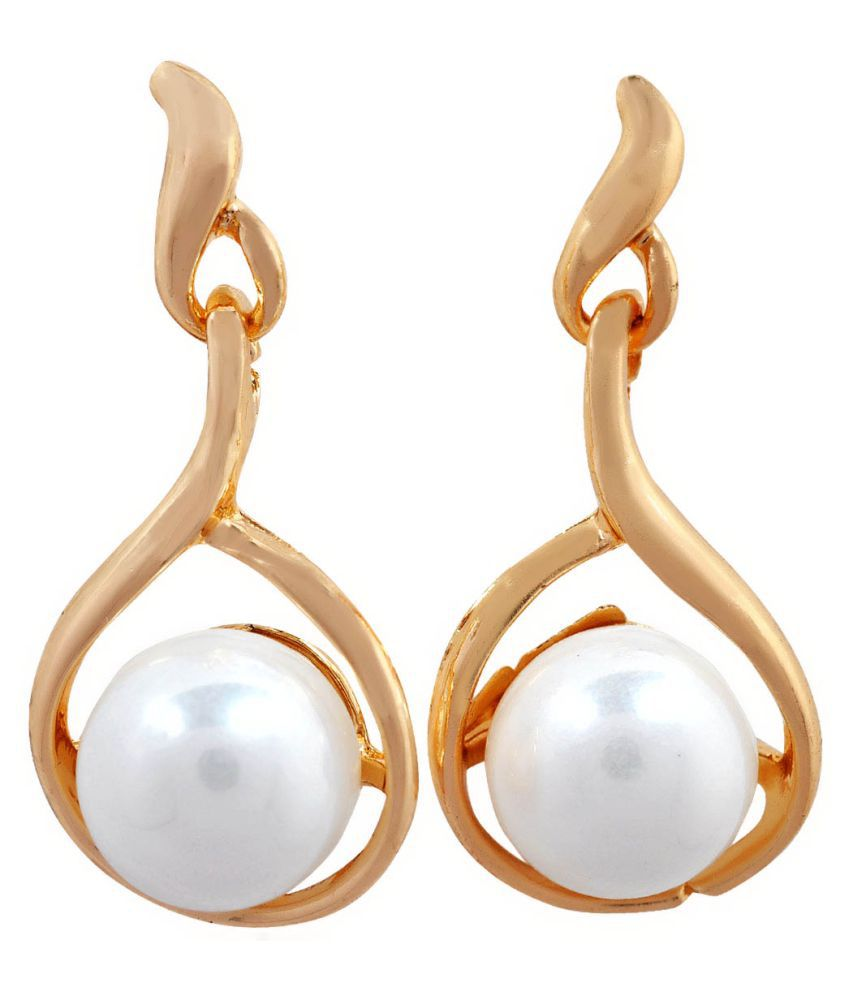 Maayra Pearl Earrings White Ear Studs Office Casualwear Earrings
