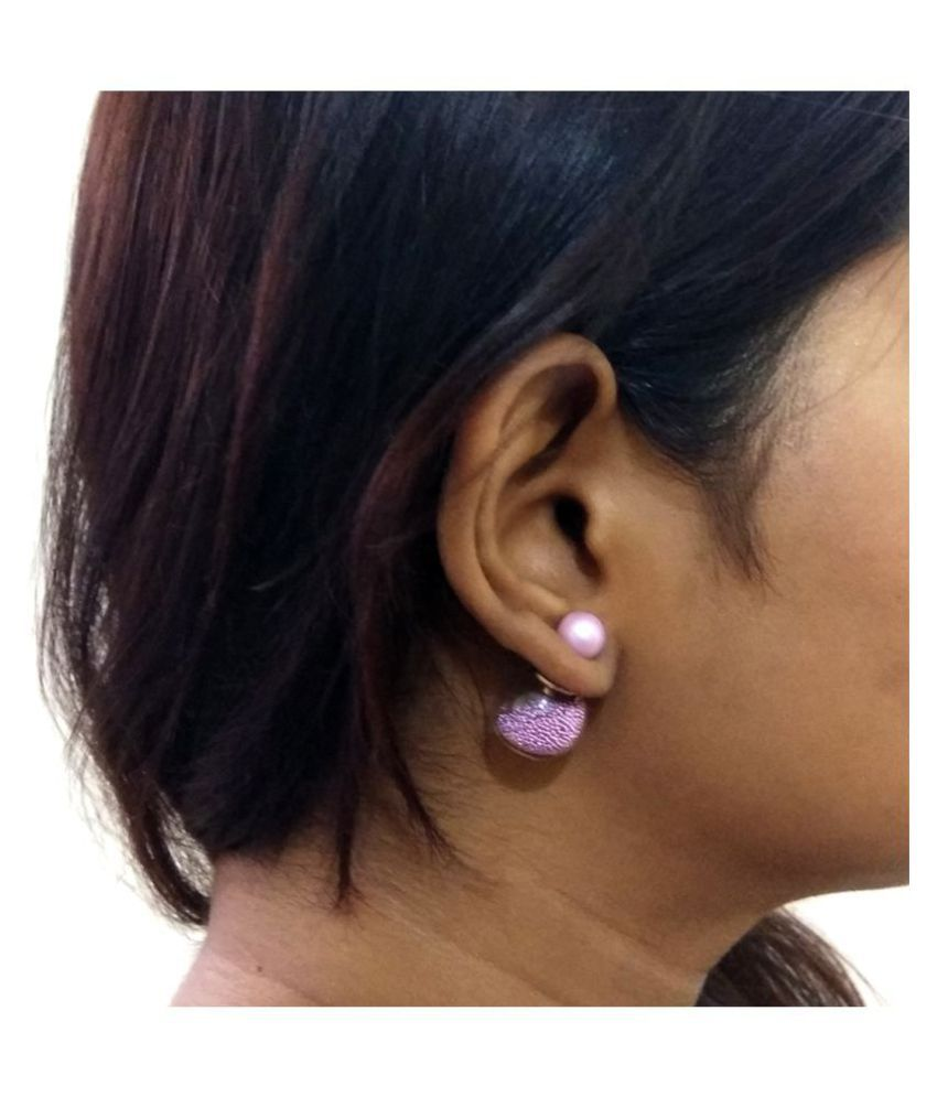 6e27f0f4d ... Perfect Charming Double Sided Studs Earrings - Gold Plated Stylish  Earring For Women & Girls, ...