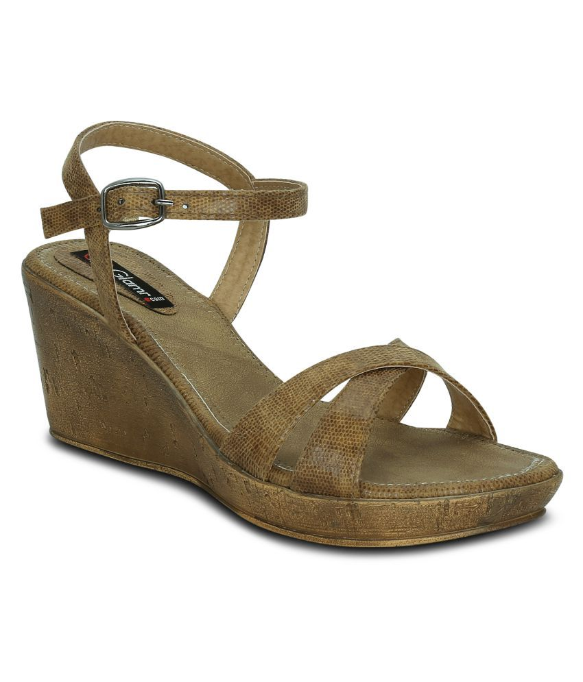 Get Glamr Beige Wedges Heels