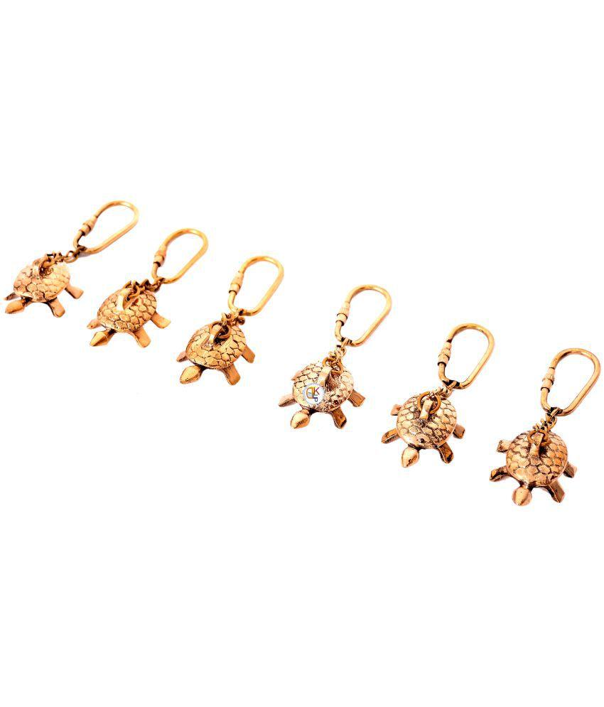 KDT Gold Brass Tortoise Keyring - Set of 6 (9x5x4cms )