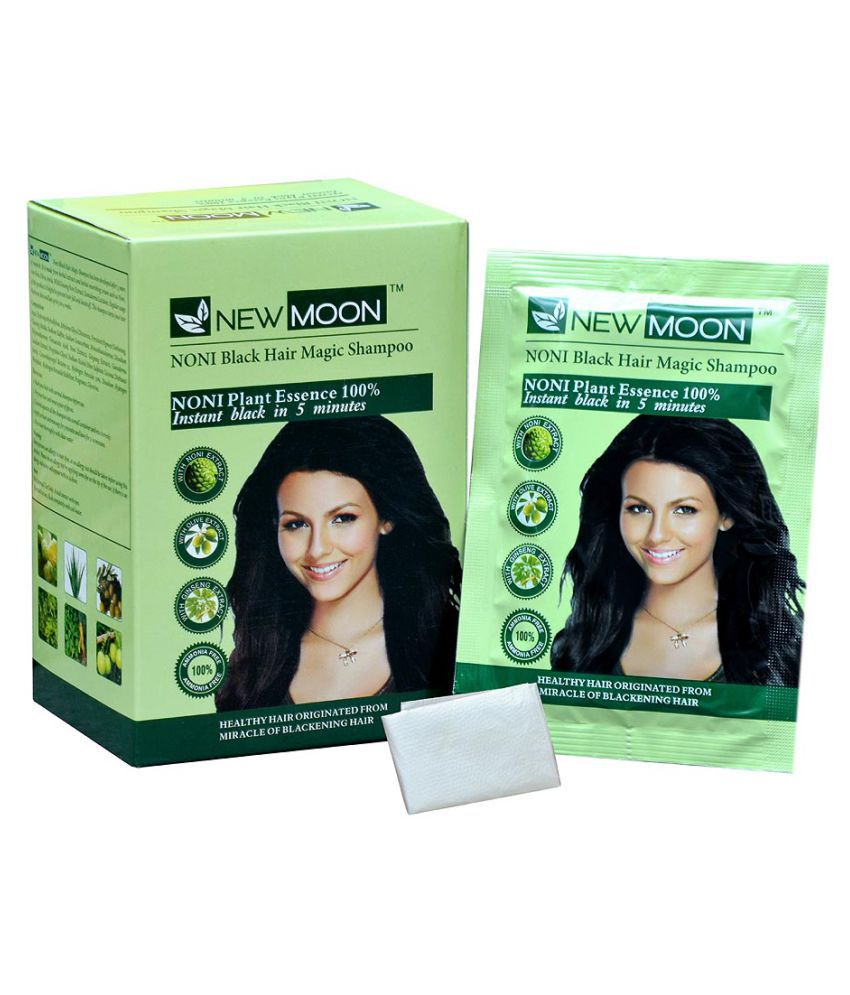 New Moon Noni fast black hair color shampoo Permanent Hair Color Black 30 ml Pack of 40