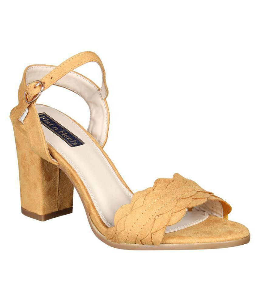 a4ce44c9cef Flat n Heels Yellow Block Heels Price in India- Buy Flat n Heels Yellow Block  Heels Online at Snapdeal