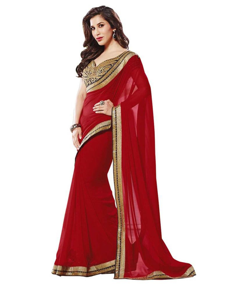 Laxmipati Fashion Red Georgette Saree