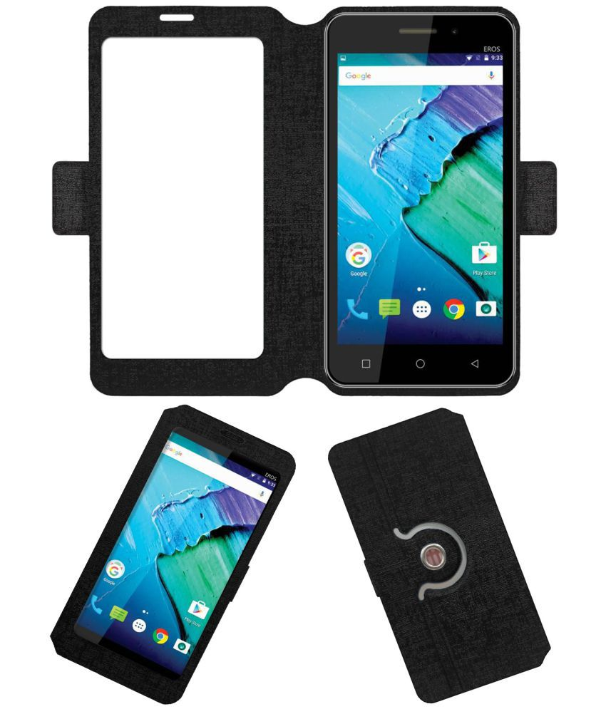 Mtech Eros Flip Cover by ACM - Black Dual Side Stand