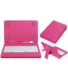 Acm Usb Keyboard Case for Apple Ipad Mini Tablet Cover Stand - Pink