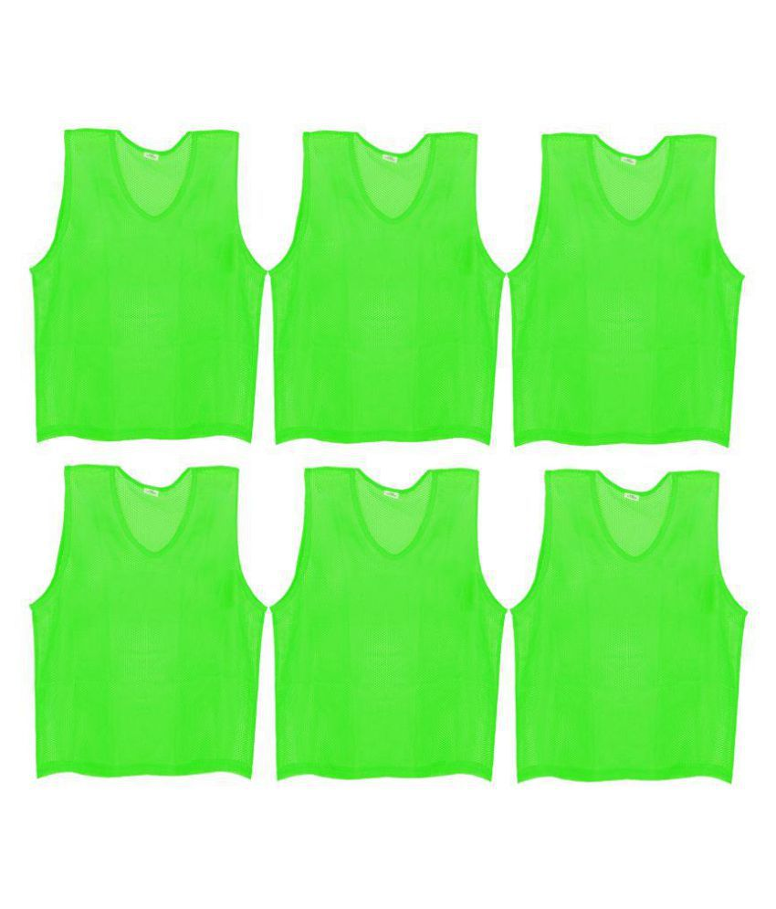 SAS Sports Training Bibs Scrimmage Vests Pennies for Soccer - Small size (53.5 x 42cm), Green color, Set of 6