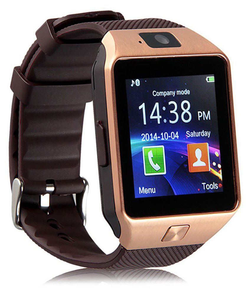 Bastex Smartwatch Suited iBall Andi 5h Quadro Dz09 Golden Smart Watches