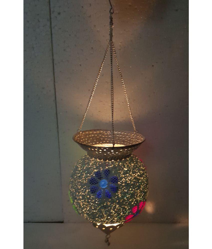 Desert Overseas Brass Glass Golden Color Round Shape Hanging Pot