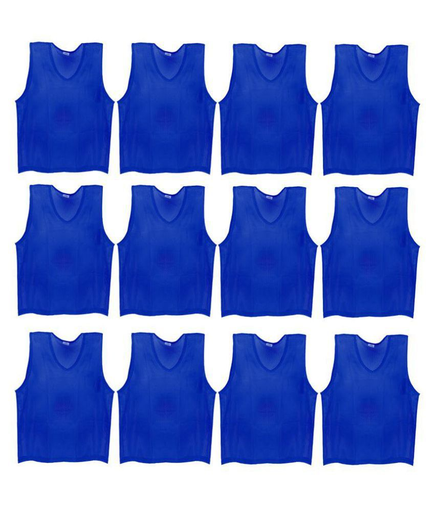 SAS Sports Training Bibs Scrimmage Vests Pennies for Soccer - Medium size (60 x 48cm), Blue color, Set of 12