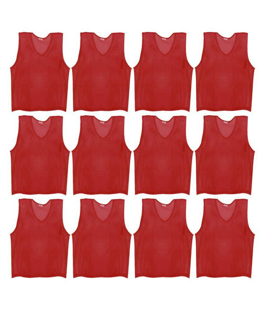 SAS Sports Training Bibs Scrimmage Vests Pennies for Soccer - Small size (53.5 x 42cm), Maroon color, Set of 12