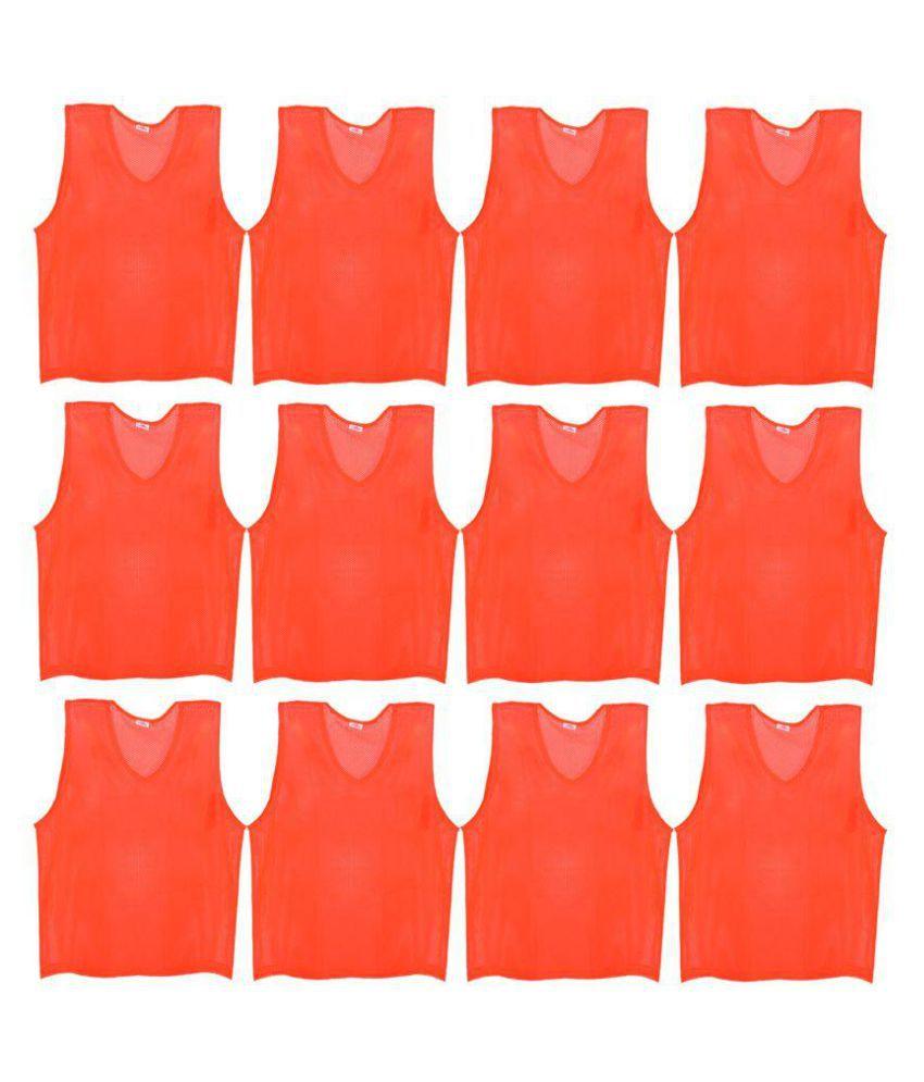 SAS Sports Training Bibs Scrimmage Vests Pennies for Soccer - Extra Large size (72 x 62cm), Orange color, Set of 12