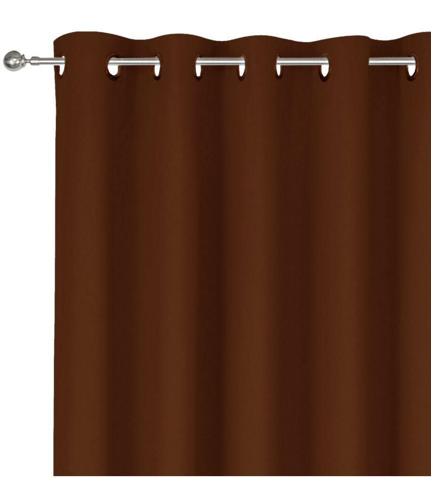 Story@Home Set of 2 Door Eyelet Silk Curtains Brown