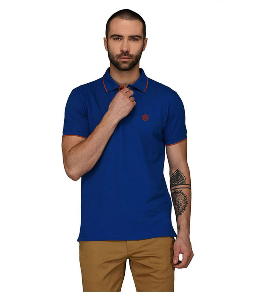 Greenfibre Blue Slim Fit Polo T Shirt