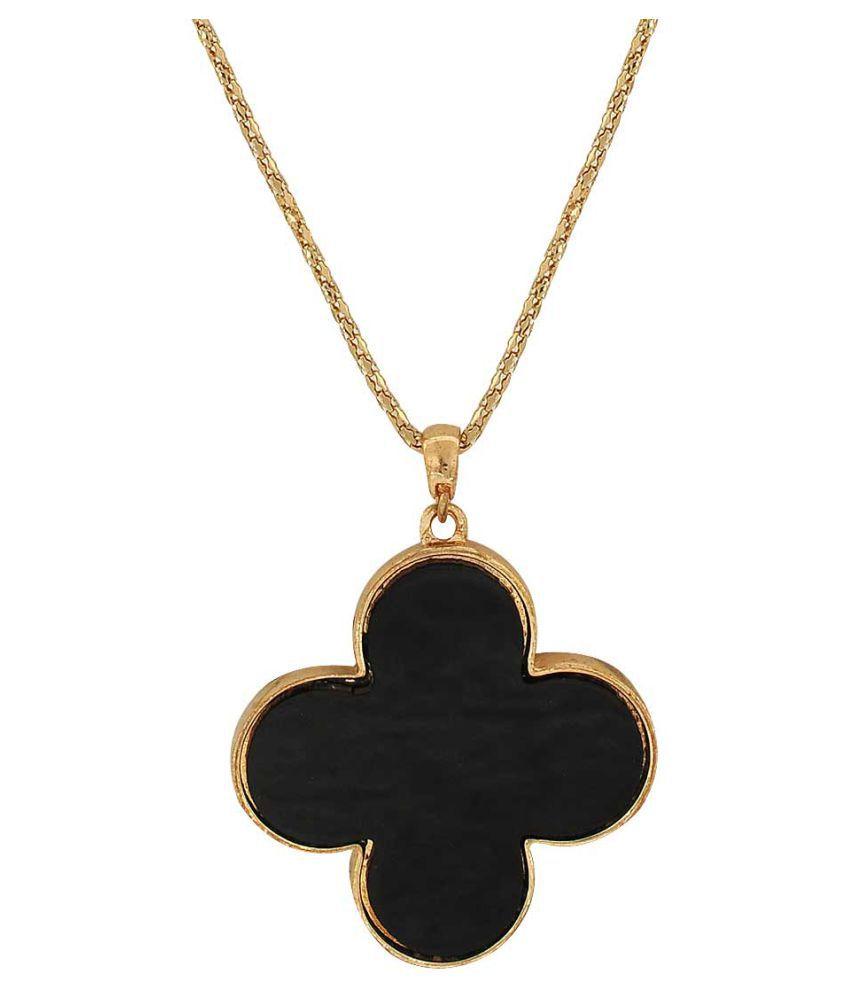 Maayra Metal Neckpiece Black Enamel Flower shape Party Neckpiece