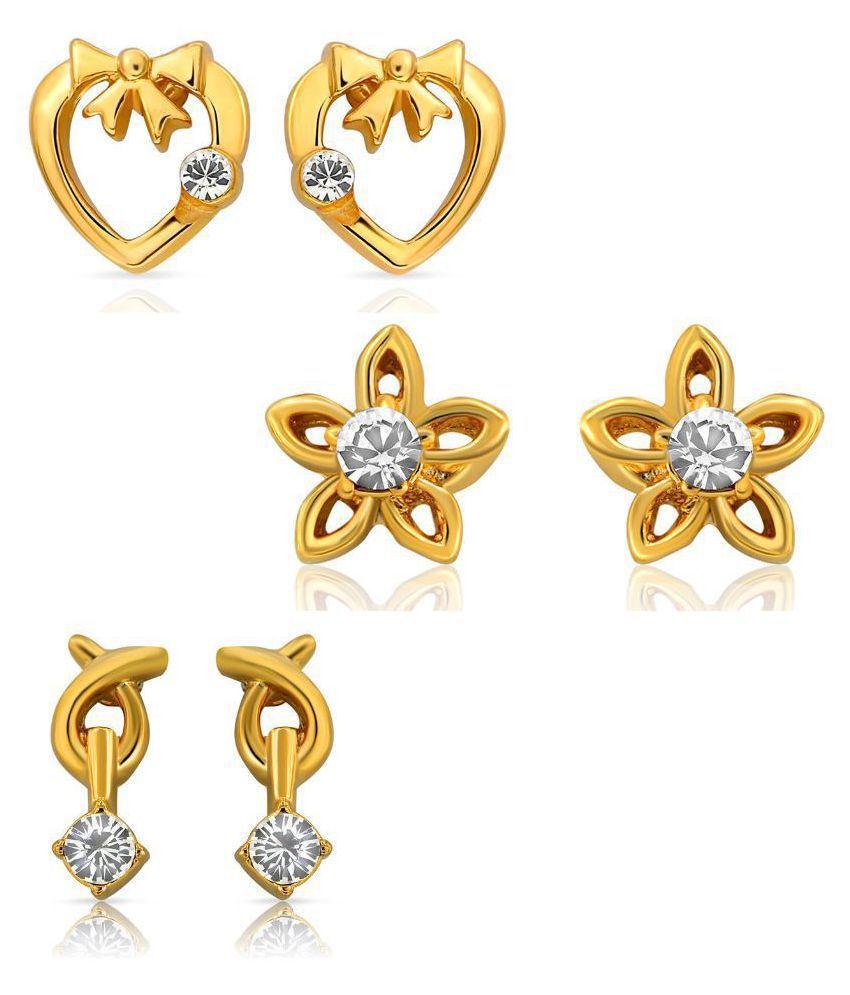Mahi Alloy Gold Plated Studded Golden Earrings Combo Set of 3 co1104001g