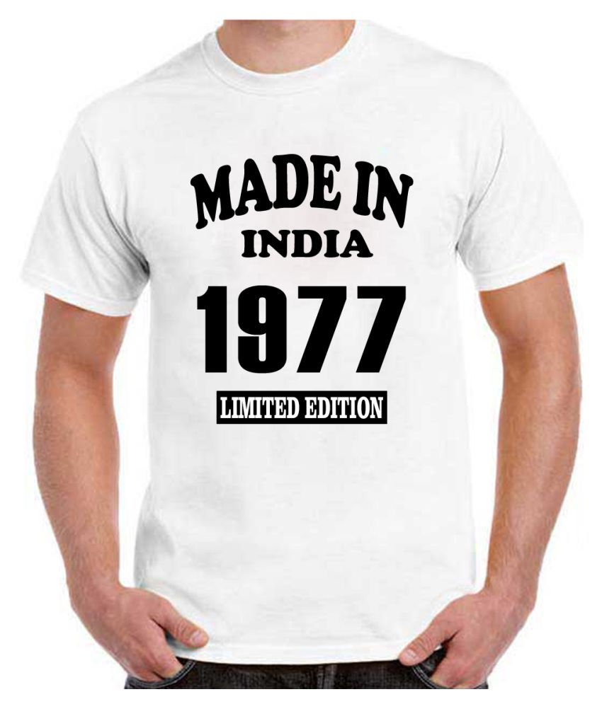 RITZEES White Dry Fit Polyester Birthday Tshirt on Made in India 1977 -S