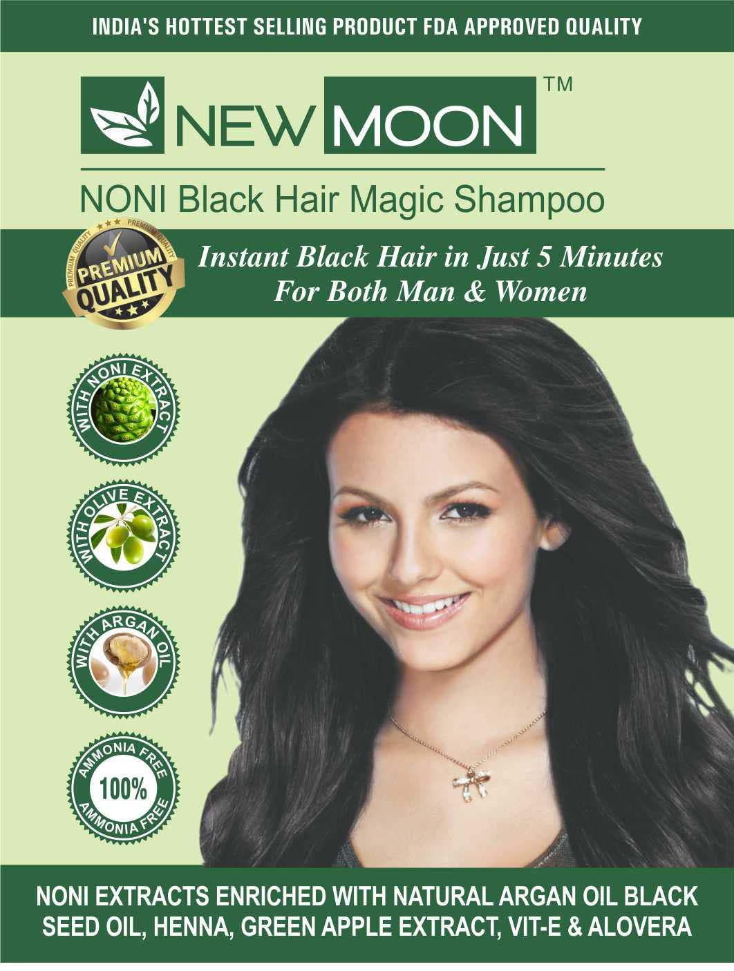 New Moon Noni beard herbal dye Permanent Hair Color Black 30 ml Pack of 10