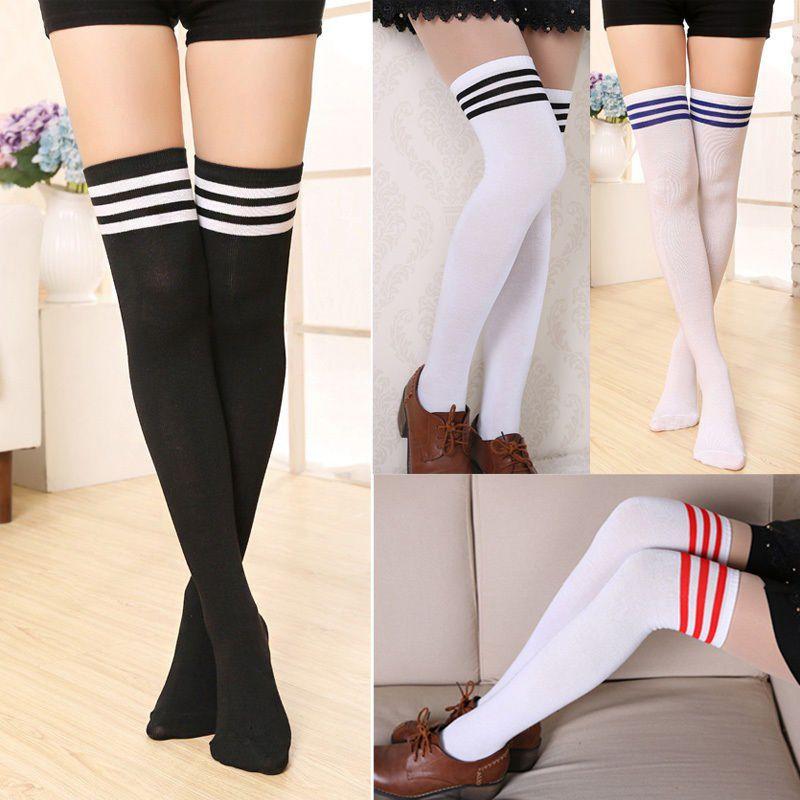 Fashion Women Ladies Sexy Cotton High Socks Schoolgirl Thigh High Hosiery Stockings Over The Knee Black White Blue Red