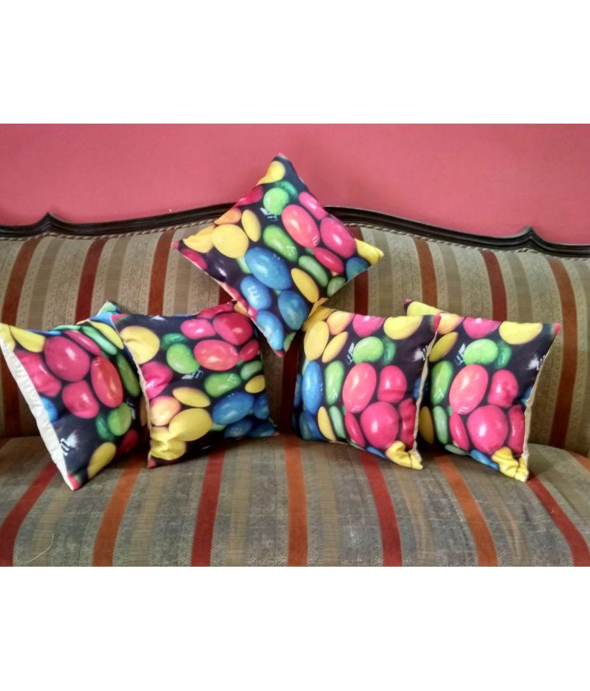 Bharti Handloom Set of 5 Jute Cushion Covers 40X40 cm (16X16)