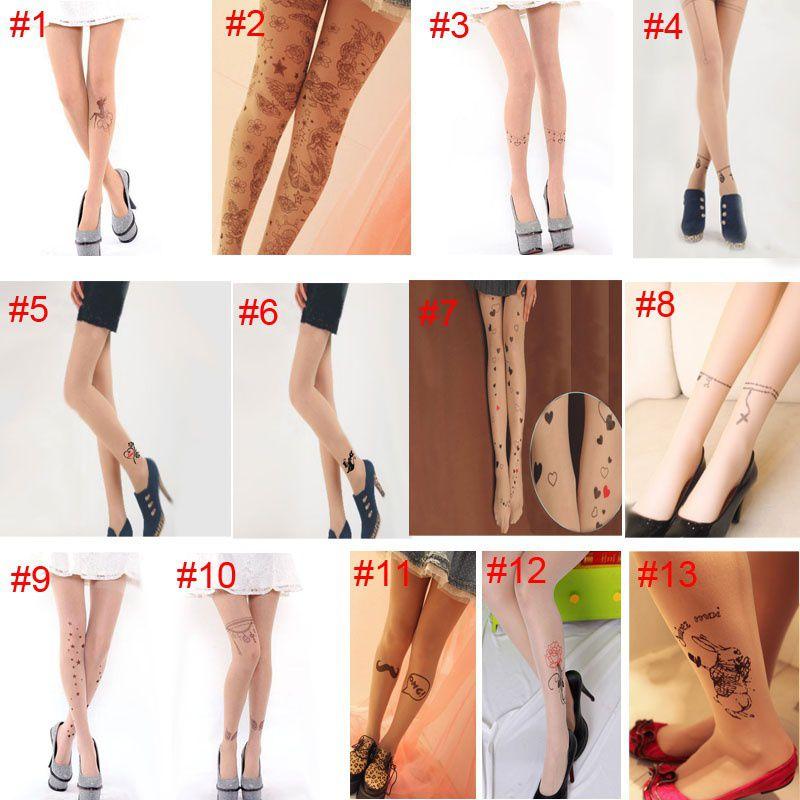 Fashion Women Punk Style Pantyhose Stocking Sexy Tattoo Tights Pattern Print Transparent Silk Stockings