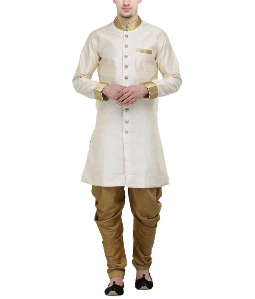 RG Designers Cream Silk Blend Sherwani