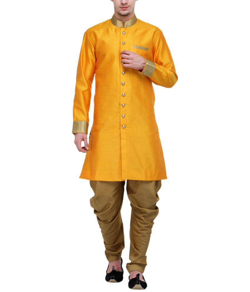 RG Designers Gold Silk Blend Sherwani