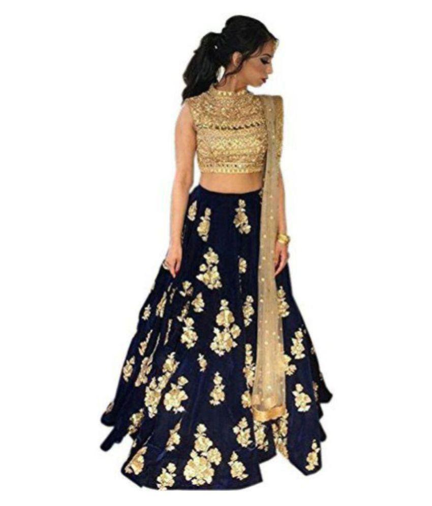 8a98863048 Aika Navy Bangalore Silk A-line Semi Stitched Lehenga - Buy Aika ...