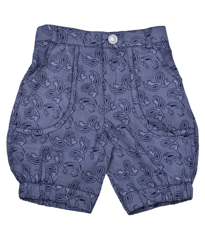 Zadmus Girls Cotton Printed HotPant (Blue, 8 - 9 Years)