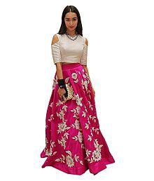 brahmani fashion Pink Banarasi Silk A-line Semi Stitched Lehenga