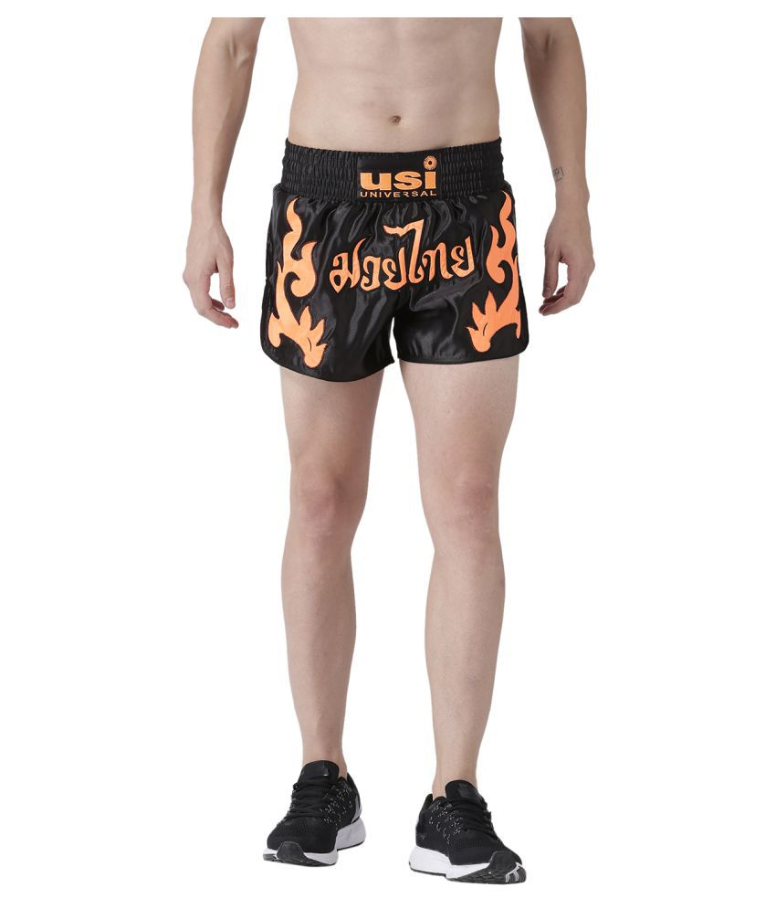 USI UNIVERSAL Black And Orange Coloured Mens Shorts