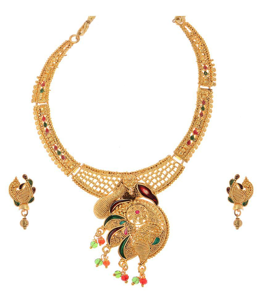 Vendee fashion Mayur Design Gold Plated enamel work Necklace set