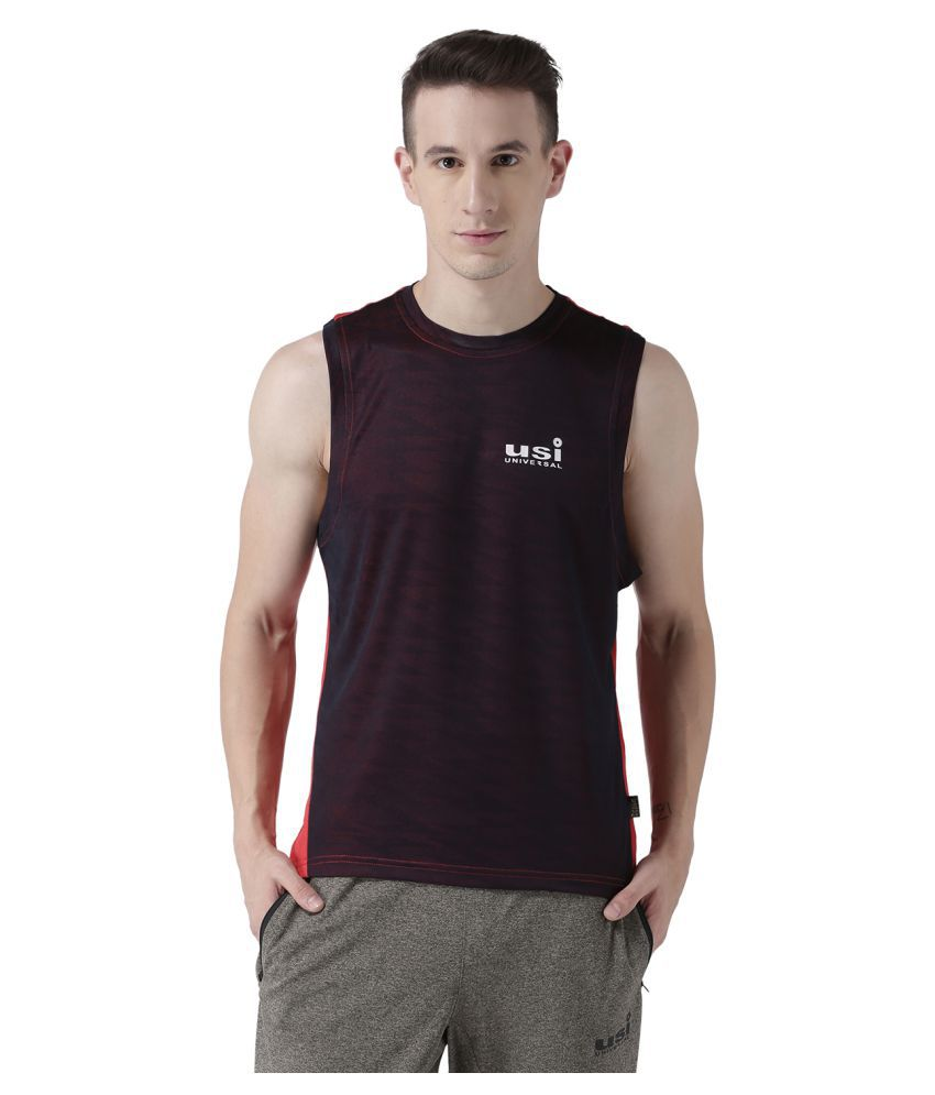 USI UNIVERSAL Red And Navy Coloured Mens T-Shirt