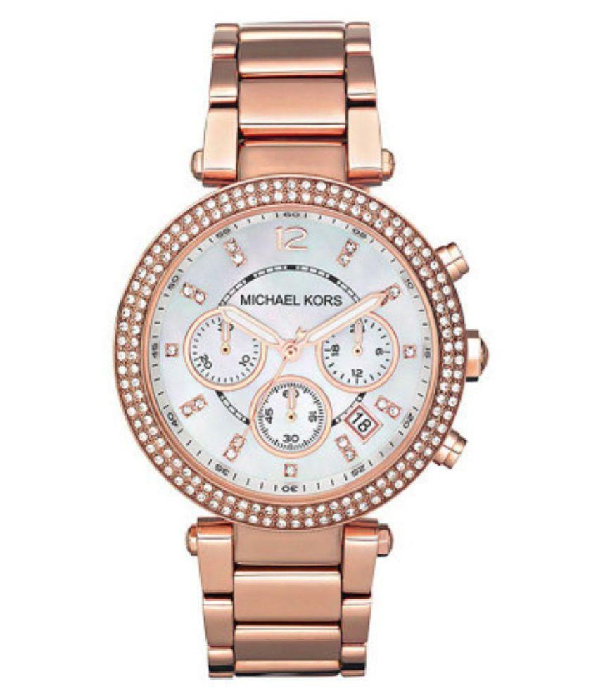 Noctem Women'S Chronograph Parker Horn Acetate And Rose Gold-Tone Stainless Steel Bracelet Watch 39Mm Mk5491