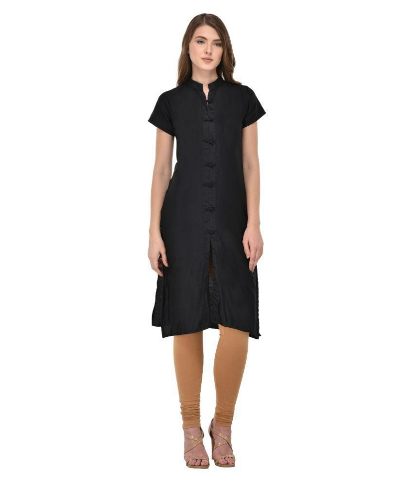 Craftliva Black Cotton Silk Straight Kurti