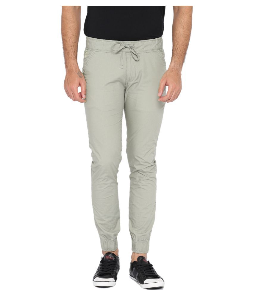FIFTY TWO Grey Regular -Fit Flat Joggers