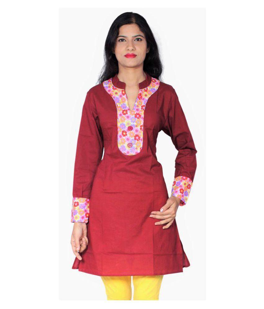 FASHION ANANYA Maroon Cotton Straight Kurti