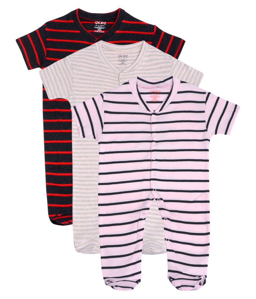 Gkidz Infants Pack of 3 Striped  Short Sleeve Sleepsuits
