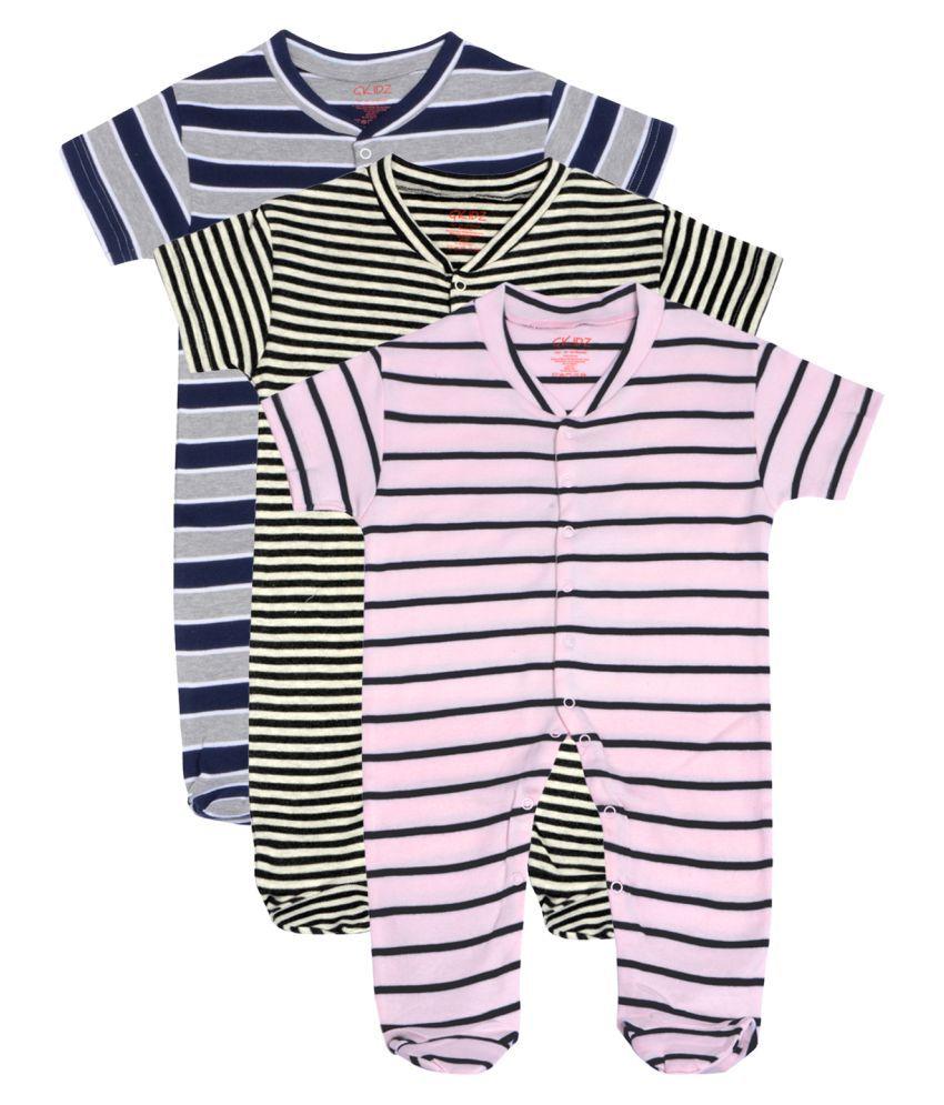 Gkidz Infants Pack of 3 Striped  Short Sleeve Sleepsuits