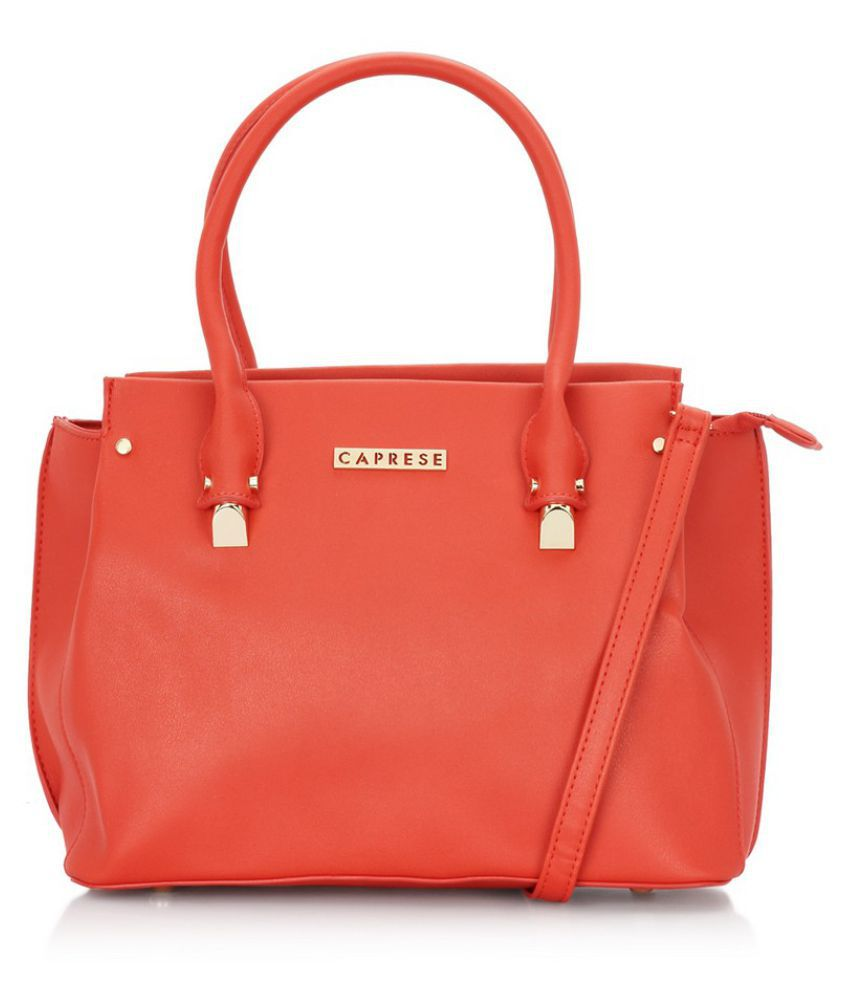 Caprese Red Faux Leather Tote Bag