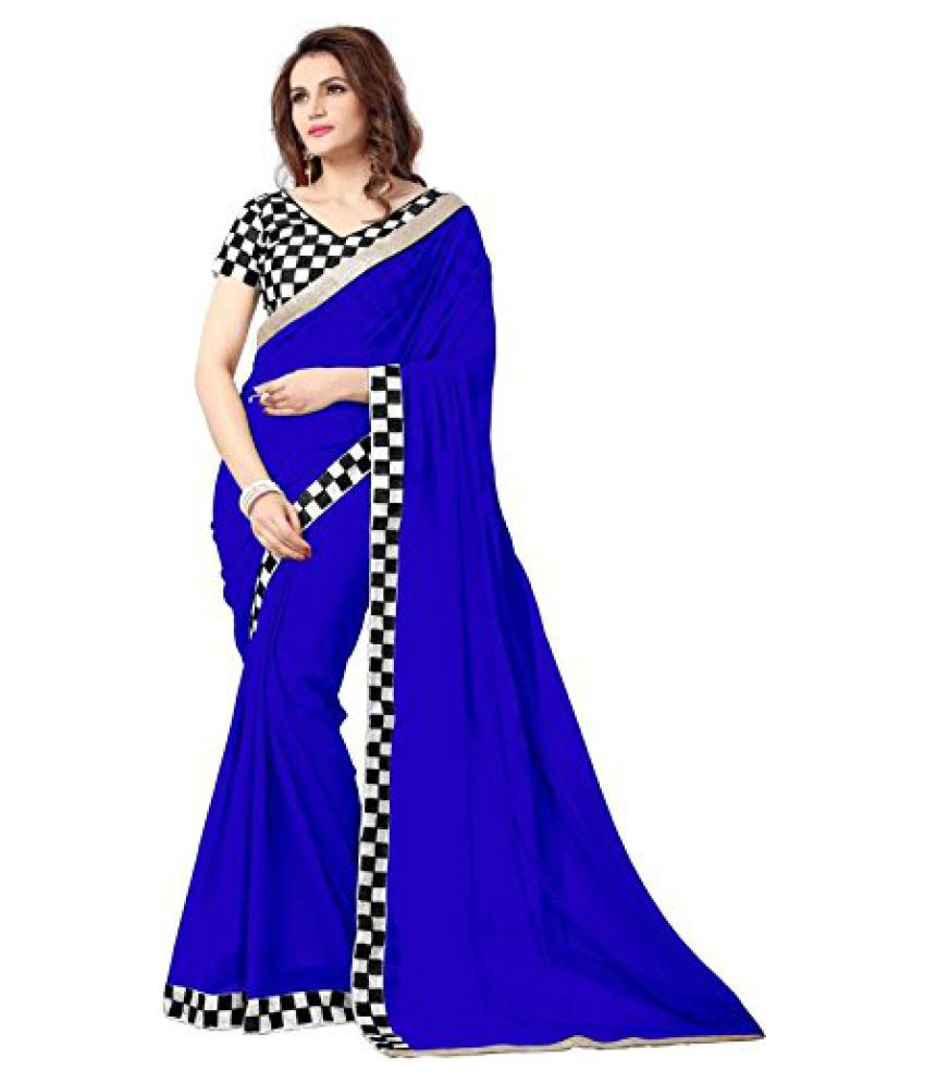 IndoPrimo Blue Georgette Saree