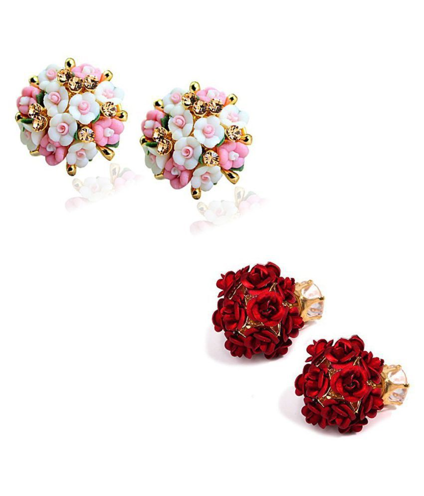 Jewels Galaxy Exclusive Luxuria Limited Edition ❤Floral & Rose Bunch❤ Multicolor Stud Earrings Combo For Women/Girls - Pair of 2
